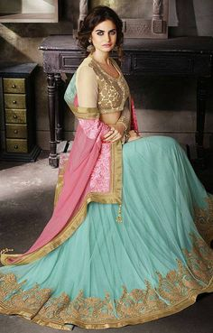 Shop new style party wear lehenga saree for a wedding party. Starting from to shop this exclusive party wear dress just click above. Lehenga Style Saree, Party Wear Lehenga, Lehenga Saree, Party Wear Dresses, Bridal Lehenga, Anarkali, Sari, Pink Lehenga, Indian Attire