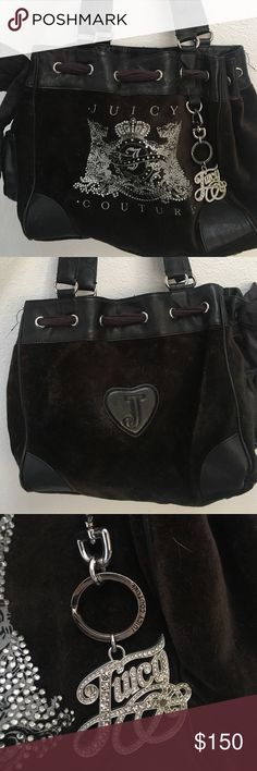 AUTHENTIC juice couture vintage black purse this super cute and stylish juicy purse is perfect for everyday use. it comes with a cell phone holder and wallet holder along with a built in mirror and super cute bling keychain. Juicy Couture Bags Shoulder Bags