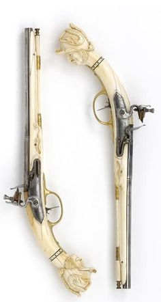 Pair of ivory-stocked flintlock pistols   by Jean Louroux   Maastricht   1670 - 1675