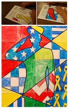 Everyone in class is involved in producing this patriotic mosaic poster in recognition of Memorial Day.