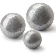 Finizio Industrial Loft Silver Sheet Metal Spheres - Set of 3 ($518) ❤ liked on Polyvore featuring home, home decor, silver home accessories and silver home decor