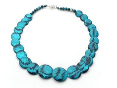 Lake Blue Color Painted Shell Necklace with Lobster Clasp