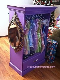 "Dress up ""closet"" - use an old/cheap dresser & pull out all but the last drawer & top with a shelf….. Add some crown molding & paint!"