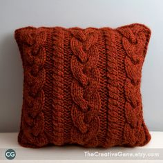 "Braid & Twist 16"" x 16"" Hand Knit Cable Pillow / Rachel at The Creative Gene"