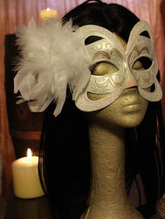 White Swan Masquerade Mask with  Feather Clip by MmmPieProd Etsy Coupon Code: HALLOWEEN gets you 20%0ff!