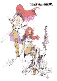 Devola and Popola,Nier Automata,Nier Game Concept Art, Character Concept, Character Art, Character Design, Nier Automata A2, Anime Style, Drawing Reference, Manga Art, Game Art