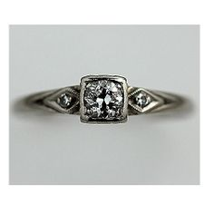 Antique 14 kt White Gold Old European Cut by ArtDecoDiamonds.  Favorite. Perfect engagement ring!