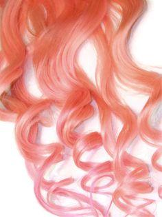 Pastel Pink Clip In Human Hair Extensions Dip Dye Tye Dye rainbow colors. $50.00, via Etsy.