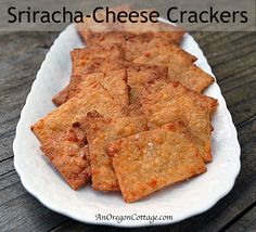 Whole Wheat Sriracha Cheese Crackers - An Oregon Cottage. To make vegan, sub with earth balance and vegan cheese or nooch!
