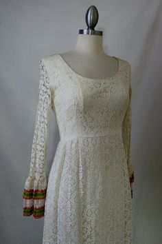 Vintage White Lace Wedding Maxi Dress With by RedLightVintageShop
