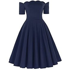 50s Style Audrey Hepburn Pinup Dresses For Women Party Cocktail Dress (Navy Blue, S)