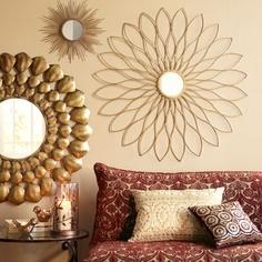 Golden Petals Wall Decor, Petite Gold Burst Wall Decor, and Radiant Mirror