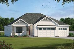 The lovely home's 1-story floor plan has 1936 feet of fully conditioned living space and includes 3 bedrooms. Farmhouse Design, Modern Farmhouse, Farmhouse Style, Electrical Layout, One Story Homes, American Houses, Sliding Glass Door, Glass Doors, Design Basics