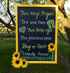 Items similar to Ten Tiny Fingers Sunflower Chalkboard Sign, Neutral, Baby Shower, Wall Decor, Yellow on Etsy - Bee Gender Reveal, Baby Gender Reveal Party, Gender Neutral Baby Shower, Gender Party, Baby Shower Wall Decor, Baby Shower Signs, Sunflower Baby Showers, Sunflower Party, Gender Reveal Invitations