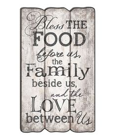 This 'Bless the Food Before Us' Fence Post Wall Sign is perfect! #zulilyfinds