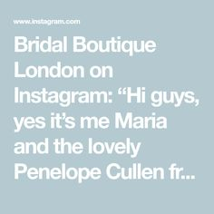 """Bridal Boutique London on Instagram: """"Hi guys, yes it's me Maria and the lovely Penelope Cullen from @tigerlilyweddings has invited me to join her live for her 'Sunday Styles'…"""" My Maria, Mirror Mirror, Bridal Boutique, Luxury Wedding, Join, Sunday, Invitations, Photo And Video, Domingo"""