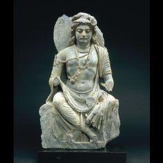 弥勒菩薩交脚像 Seated Maitreya Bodhisattva 2-3世紀 ガンダーラ 灰色片岩 高63.0幅36.5cm Hirayama Ikuo Silkroad Museum