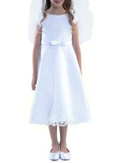 Us Angels  Cap Sleeve Embroidered Applique Detail Satin Dress Girls 4-16