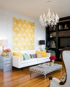 Colorful Casual Living Room With Yellow Patterned Accent Wall Design Sponge Wallpaper Art