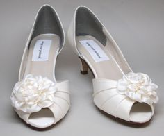 Wedding Shoes  Ivory Satin Peeptoes with by DesignYourPedestal, $175.00