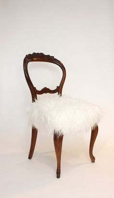 Redesigned Vintage Balloon Back Chair With White #Fur Of Course. http://www.williamhharrisfurs.com/