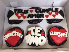 Cupcakes Amor, Fondant Cupcakes, Cupcake Cookies, Mini Cupcakes, Bf Gifts, Love Gifts, Boyfriend Gifts, Gifts For Him, Cupcakes San Valentin