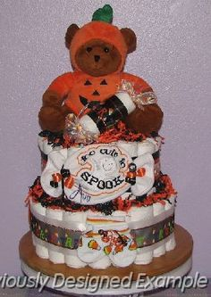 halloween baby shower ideas | Halloween-Diaper-Cakes.JPG - Halloween Diaper Cake
