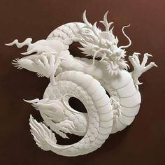 """dragon""...jeff nishinaka...paper artist..sculptor....los angeles..california..via john cannell fb: 3d Paper Art, Paper Artist, Cut Paper, Paper Crafts, Papercut Art, Origami, Imperial Dragon, Inspiration Artistique, Dragons"