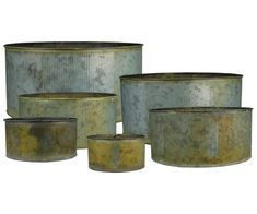 CYS® Corrugated Zinc Metal Galvanized Plant Pot Cylinder Vases, Pots, Planters - Set of 6  H-5 inch Open D-11 inch; H-4.5 inch Open D-9.5 inch; H-4 inch Open D-9 inch; H-3.5 inch Open D-8 inch; H-3 in...