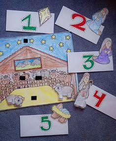 "Sing songs corresponding to parts of the Nativity.    1 - Star: Helaman 14:2 (sing ""Samuel Tells of the Baby Jesus"")  2 - Joseph: Luke 2:1, 4-5 (sing ""When Joseph Went to Bethlehem"")  3 - Mary: Luke 2:7 (sing ""Away in a Manger"")  4 - Shepherd: Luke 2:8, 9-10 (sing ""Stars Were Gleaming"")  5 - Baby Jesus: Luke 2:11 (sing ""The Nativity Song"")"