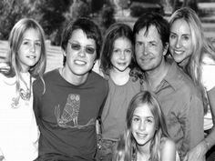 Michael J Fox Family: wife Tracy with 4 children Sam, twins Aquinnah and Schuyler, and youngest Esme. Alex P Keaton, Michael Fox, Spin City, Hugh Laurie, Stars Then And Now, Famous Couples, Family Affair, Back To The Future, Celebrity Couples