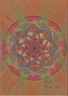 MANDALA: bruin, ei-nestje, takken, papegaai, dolfijn, ster,lotusbloem