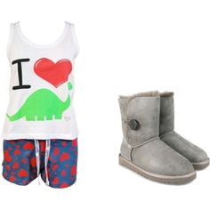 Adorable Pajamas. I heart Dinosaur top, blue with red heart boxers, and gray UGG boots.