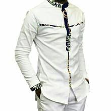 Fashion Mens Africa Festive Clothing Ankara Clothes African Print Tops Long Sleeve print and white Cotton patchwork T-shirt African Shirts For Men, African Attire For Men, African Print Fashion, African Wear, African Suits, African Style, African Print Shirt, African Print Dresses, African Dress