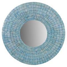 turquoise capiz shell mirror    ++