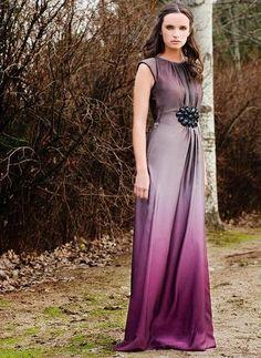 vestido largo boda malva