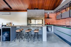 The Lake House is designed by Cadi Arquitetura, Space to meet friends and enjoy good music. The Lake House was the wish of the owner Industrial Kitchen Island, Stools For Kitchen Island, Metal Industrial, Island Stools, Cabana, Casas Country, Rustic Lake Houses, Haus Am See, Casas Containers