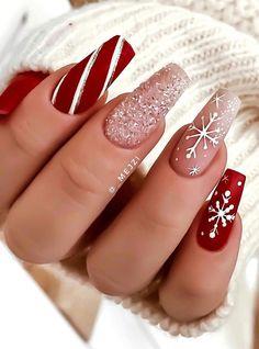 Chistmas Nails, Cute Christmas Nails, Xmas Nails, Christmas Nail Designs, Holiday Nails, Christmas Christmas, Christmas Makeup, Snowflake Nail Design, Snowflake Nails
