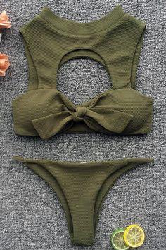 b83749c52ca03 KNOTTED FRONT CUTOUT HIGH NECK THONG BIKINI - TWO PIECE SWIMSUIT – elleschic  Two Piece Bikini
