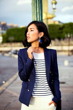 breton shirt and a blue blazer. match made in heaven. Nicole Warne stunning as ever.