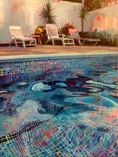 Cool Water, Lucinda Metcalfe, Acrylic and oil on board, 2016 : Art Art Inspo, Painting Inspiration, Pinturas Art Deco, Art Ideas For Teens, Internet Art, Guache, Wow Art, Pics Art, Art Drawings
