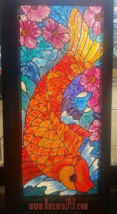 Unicorn Spit used to create stained glass design on old window - detailed instructions
