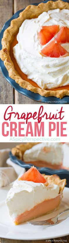 Ruby Red Grapefruit Cream Pie   http://ASpicyPerspective.com