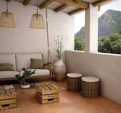 Curvytile Cotto Clay: Balcones y terrazas de estilo Moderno de Equipe Ceramicas