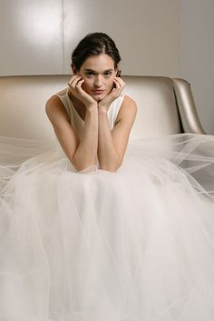 """""""Libby"""" Amsale Spring 2016 - Crepe bodice ball gown with sheer back and soft tulle skirt."""