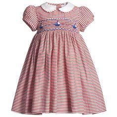 Annafie Baby Girls Red Hand-Smocked Cotton Dress at Childrensalon.com