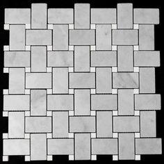 (http://www.carraratiles.com/carrara-marble-italian-white-bianco-carrera-basketweave-mosaic-tile-with-white-dolomite-dots-polished.html)