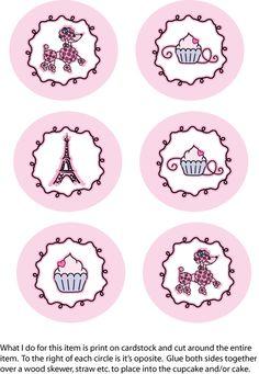 París: lindos imprimibles. Paris Birthday Parties, Paris Party, Paris Theme, Party Printables, Free Printables, Paris Cupcakes, Cupcake Toppers Free, Cupcake Wrappers, Pink Paris