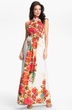 Eliza J Halter Floral Print Maxi Dress | Nordstrom
