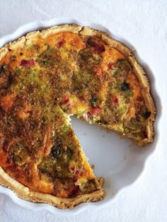 Bacon and Caramelised Onion Quiche Pastry plain flour butter, chopped 1 egg yolk tablespoons iced water cup caramelised onion (about 2 large onions, sliced) bacon, roughly chopped small handful parsley chedder cheese, cubed cream 5 eggs